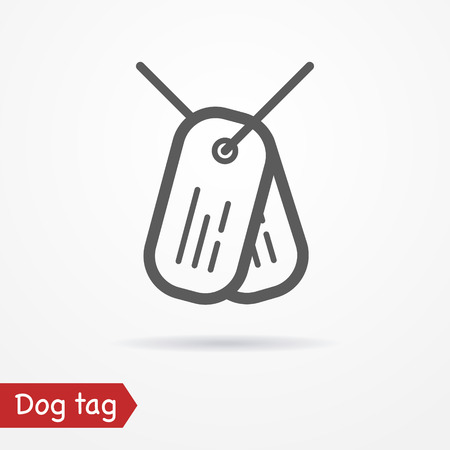 trooper: Army tag in line style. Typical simplistic dog tag. Dog tag isolated icon with shadow. Tag plates stock image.