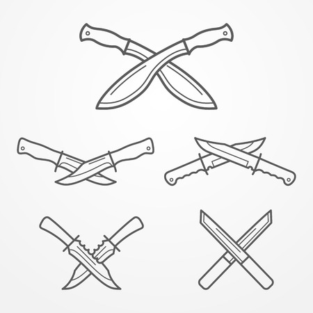 machete: Collection of crossed hunter knives. Hunter knife line logo set. Typical hunter knives. Crossed knives samples. Hunter knife stock illustration. Illustration