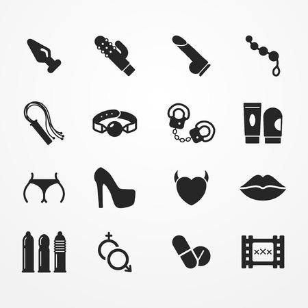 Raccolta di icone sex shop, in stile silhouette, sex shop immagini stock, raccolta di simboli sexy shop tipico - giocattolo adulto, preservativo, ammanettare, pillole, biancheria intima