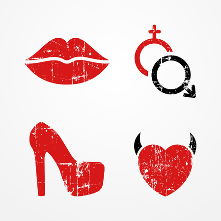 shoes woman: Woman, passion and relationship symbols, retro grunge style, bright red color, typical passion icons - lips, heart, high heeled shoe, Mars and Venus symbols Illustration