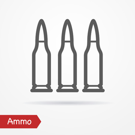 cartridge: Rifle ammo in line style. Typical simplistic rifle cartridge. Rifle bullets isolated icon with shadow. Ammo stock image.
