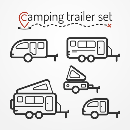 camping: Set of camping trailer icons. Travel trailer symbols in silhouette line style. Camping trailers stock illustration. Five trailers with camping equipment.