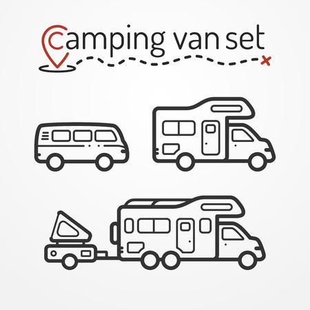 camper trailer: Set of camping van icons. Travel van symbols in silhouette line style. Camping van stock illustration. Van and RVs with camping equipment.