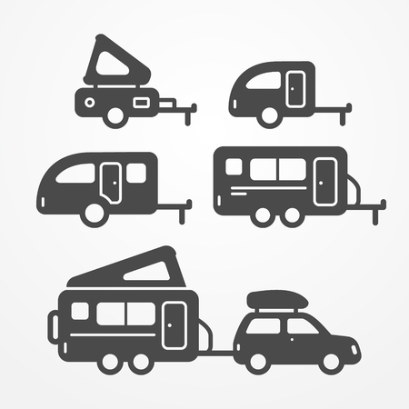 camping: Set of camping trailer icons. Travel trailer symbols in silhouette style. Camping trailers stock illustration. Five trailers with camping equipment. Illustration