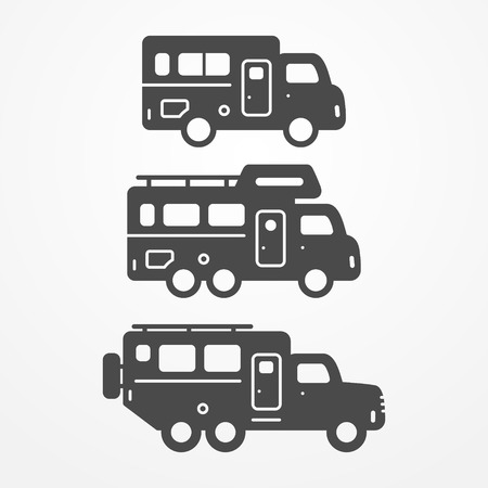 traveller: Collection of camping truck icons. Travel truck symbols in silhouette style. Camping trucks stock illustration. Heavy trucks with camping equipment.