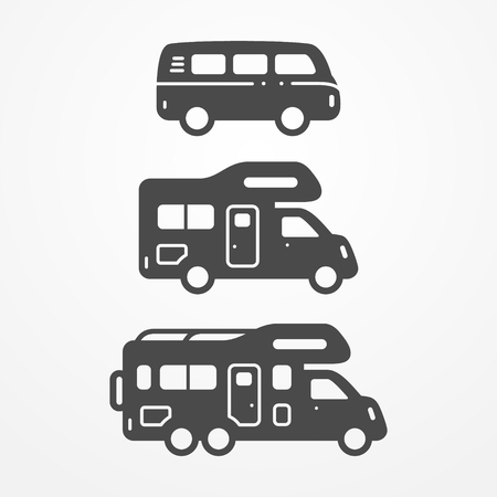 Collection of camping van icons. Travel van symbols in silhouette style. Camping van stock illustration. Van and RVs with camping equipment.