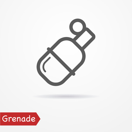 grenade: Abstract grenade in line style. Typical simplistic grenade. Isolated grenade icon with shadow. Grenade stock image. Illustration