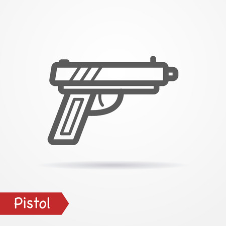 simplistic icon: Abstract pistol in line style. Typical simplistic modern pistol. Isolated pistol icon with shadow. Pistol stock image.
