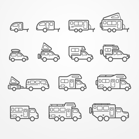 transport icons: Set of camping car icons in flat silhouette line style. Travel SUV, pickup, truck and trailer icons. Transport stock illustration.