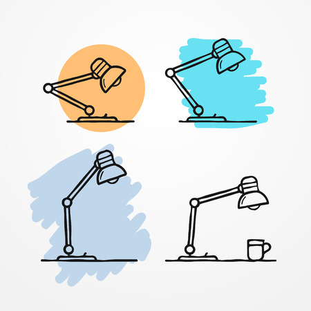 Collection of flexible table lamps in rough sketchy flat style. stock illustration.