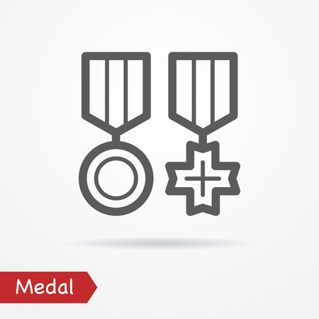 veteran: Abstract simplistic combat medal icon in silhouette line style with shadow. Army stock image.