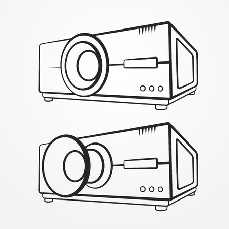 stock image: Set of two abstract typical projectors in graphic silhouette style. Video stock image.
