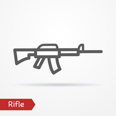 simplistic: Abstract simplistic rifle icon in silhouette line style with shadow. Military stock image.