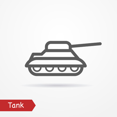 wartime: Abstract simplistic tank icon in silhouette line style with shadow. Army stock image. Illustration