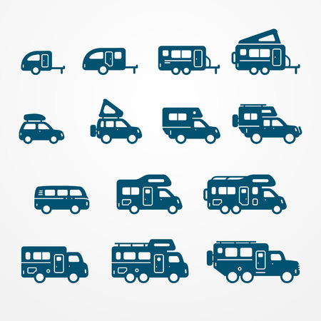 mobile home: Set of camping car icons in flat silhouette style. Travel SUV, pickup, truck and trailer icons. Transport stock illustration.