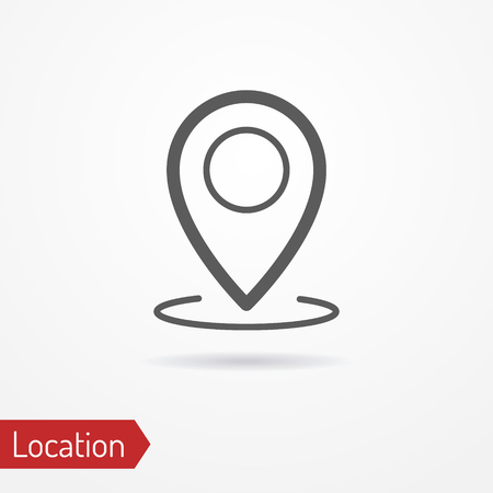 simplistic icon: Abstract location icon in silhouette line style with shadow. Simplistic map pointer. Travel and maps stock image.