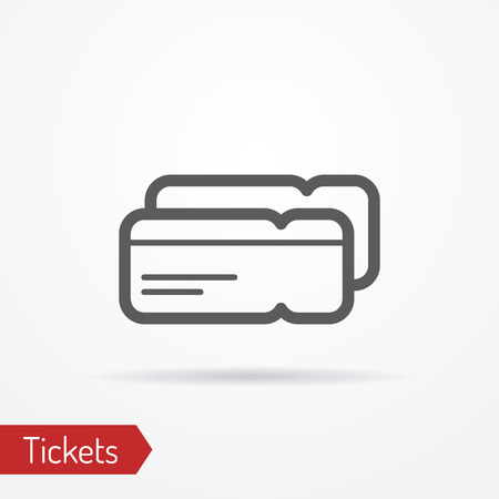 simplistic icon: Abstract simplistic ticket icon in silhouette line style with shadow. Plane or train boarding pass. Travel stock image.