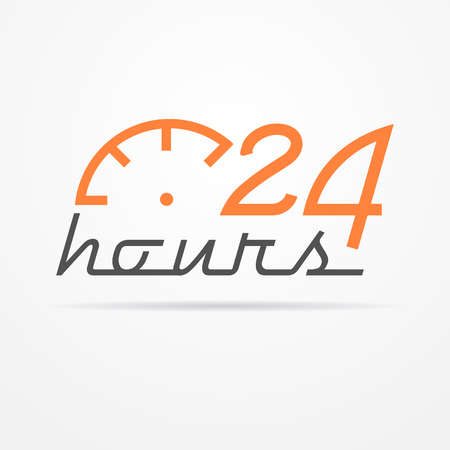 Isolated 24 hours label in graphic style with stylized clock and shadow. Illustration