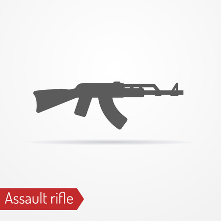 assault: Abstract isolated assault rifle icon in silhouette style with shadow. Army vector stock image. Illustration