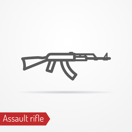 assault: Abstract isolated assault rifle icon in line style with shadow.