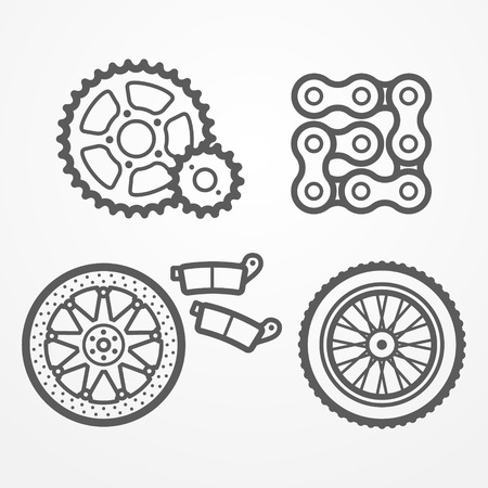 sprocket: Collection of motorcycle parts icons in line style. Sprockets, chain, wheel and brake disc with pads.