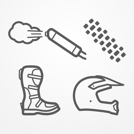 Set of cross and off-road motorcycle parts in line style. Exhaust, tire track, boot and helmet. Motorbike stock image.