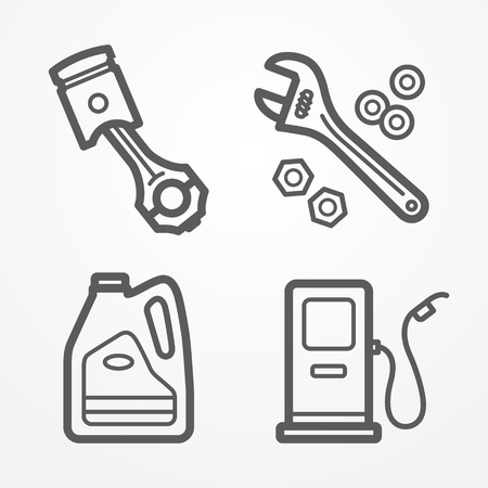 Collection of car or motorcycle service icons in line style. Piston, gas station, motor oil and wrench with nuts. Car store or service stock image. Illustration
