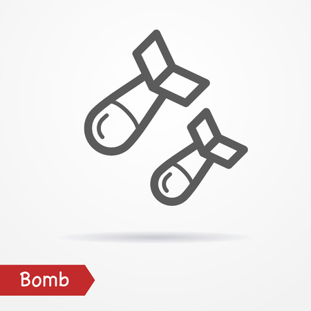 simplistic icon: Abstract simplistic air bomb icon in silhouette line style with shadow. Military stock image.