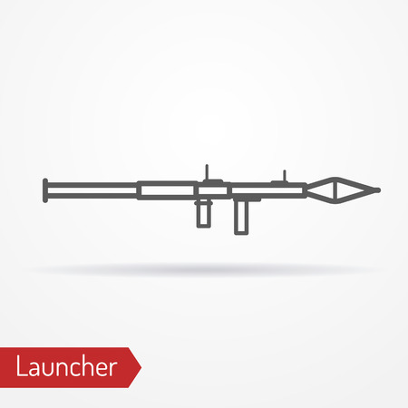 launcher: Abstract grenade launcher icon in line style with shadow. Army stock image. Illustration