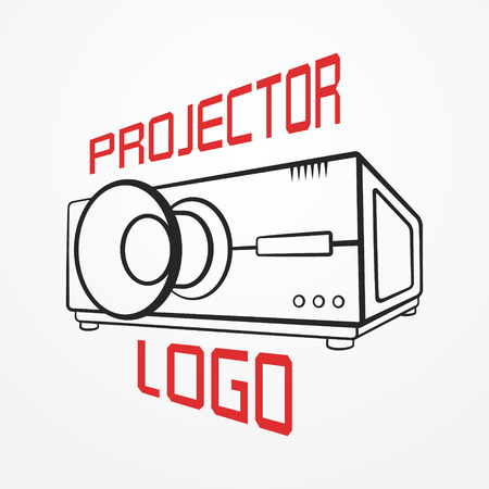 Abstract made of typical projector in graphic silhouette style and sample text. Video stock image. Illustration