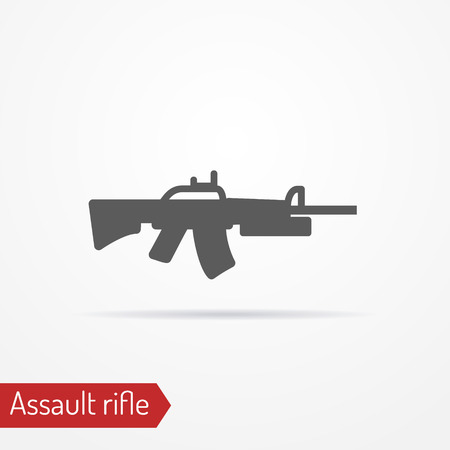 stock image: Abstract isolated assault rifle icon in silhouette style with shadow. Military stock image.