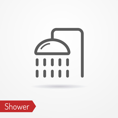 stock image: Abstract simplistic shower icon in silhouette line style with shadow. Travel stock image. Illustration