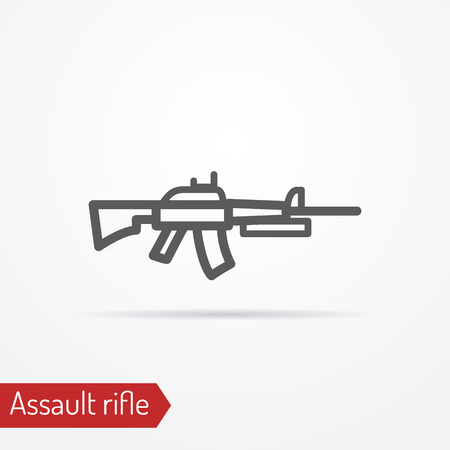 shadow silhouette: Abstract isolated assault rifle icon in silhouette line style with shadow. Army stock image.