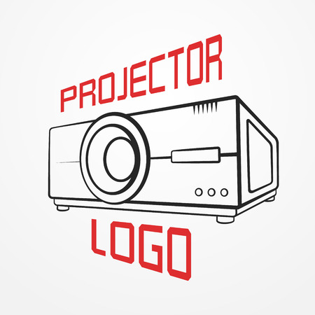Abstract made of typical projector in graphic silhouette style and sample text. Illustration