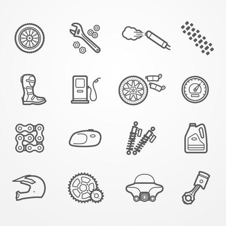 오토바이 부품의 컬렉션 라인 스타일 아이콘. 부품, 도구 및 라이더 기어 예비. 오토바이 상점 또는 서비스의 재고 이미지.