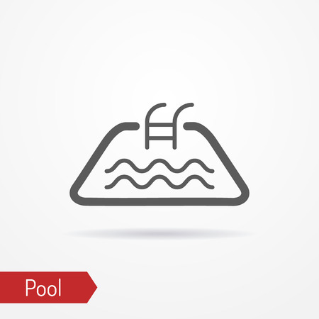 Abstract simplistic pool icon in line style with shadow. Small pool silhouette with water waves.