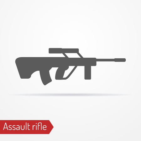 assault: Abstract isolated assault rifle icon in silhouette style with shadow. Illustration