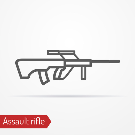 Abstract isolated assault rifle icon in line style with shadow.