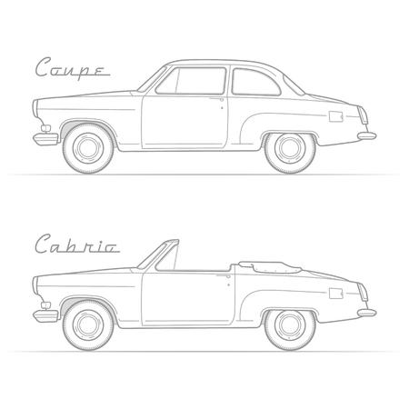 Classic retro car silhouette vector image Stock Photo