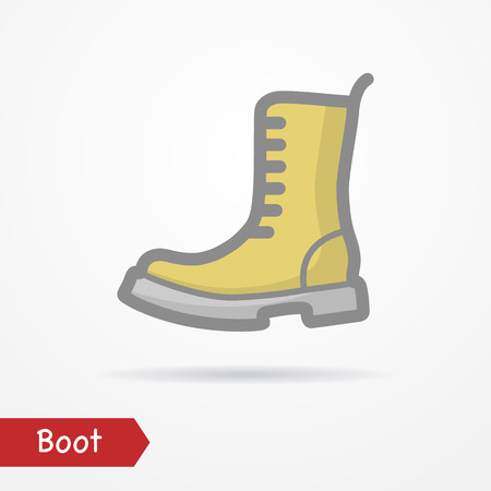foot soldier: Military boot vector icon Illustration