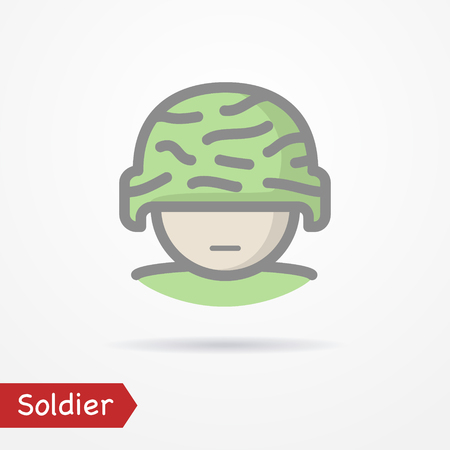 Soldier face vector icon Illustration
