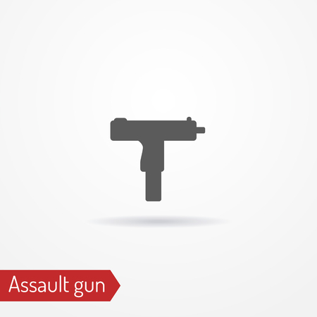 magnum: Compact assault weapon silhouette vector icon