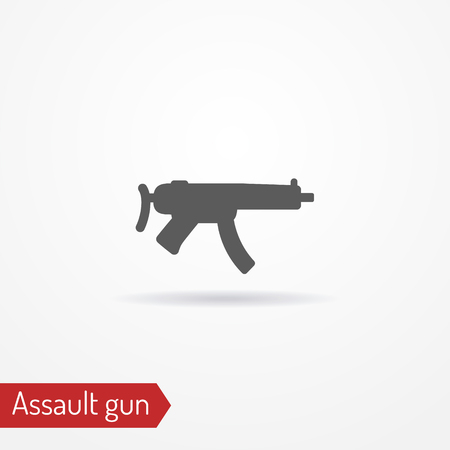 Compact assault weapon silhouette vector icon