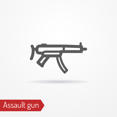 Compact assault weapon line vector icon