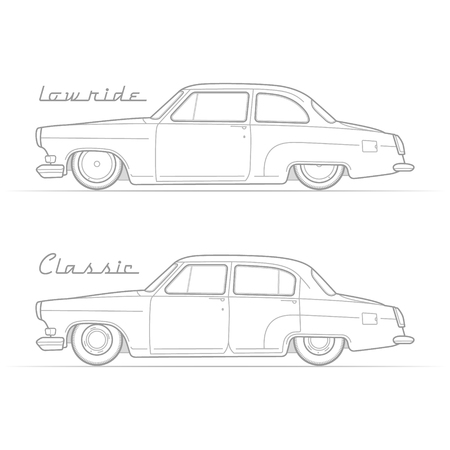 Two isolated lowrider retro cars in silhouette line style with sample text. Two-door coupe and sedan. Typical lowered vintage vehicle. Custom car vector stock image. Illustration