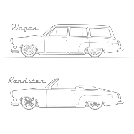 Two isolated lowrider retro cars in silhouette line style with sample text. Wagon and cabrio. Typical lowered vintage vehicle. Custom car vector stock image. Illustration