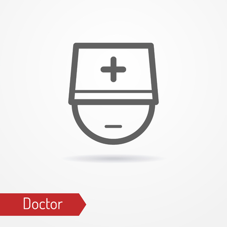 Typical simplistic doctor face in professional hat with cross. Medic or surgeon head isolated minimalistic icon in line style with shadow. Profession and healthcare vector stock image. Illustration