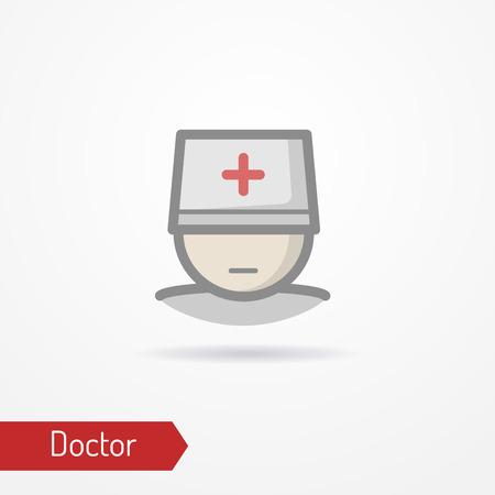 Doctor face vector icon
