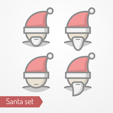 pompon: Collection of Santa Claus heads with beard. Abstract person celebrating new year in festive hat. Man head isolated icon in flat line style. New year celebration vector stock image.