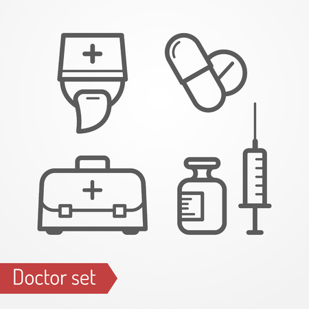 Collection of doctor icons. Typical doctor face in professional hat, bag, syringe, pills and medicine. Medic or surgeon isolated icon in flat style. Profession and healthcare vector stock image. Illustration